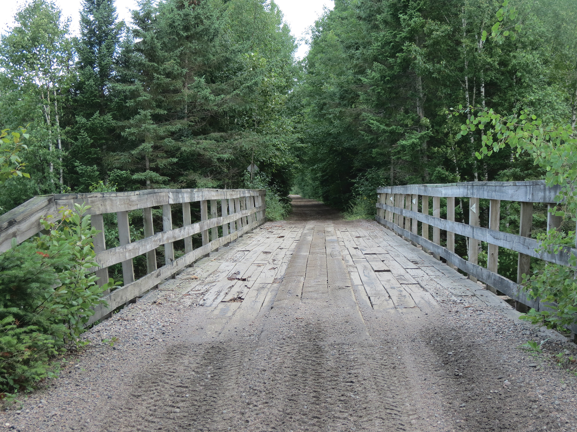 This old wooden bridge served as a trestle for locomotive travel. Photo by Sarah Vance.