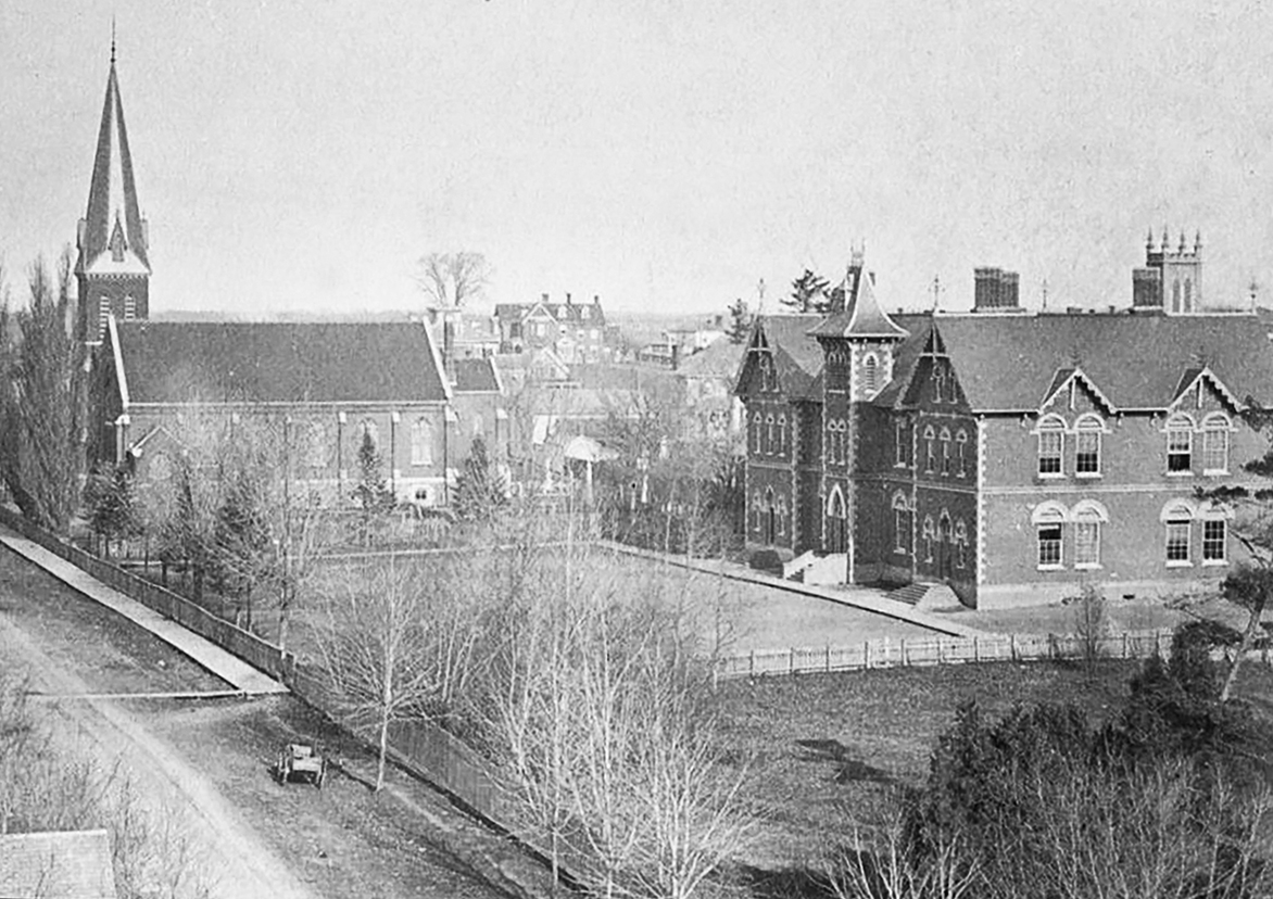 This view captures the original Belleville High School, which has since been demolished. Photo courtesy Jim Kammer.
