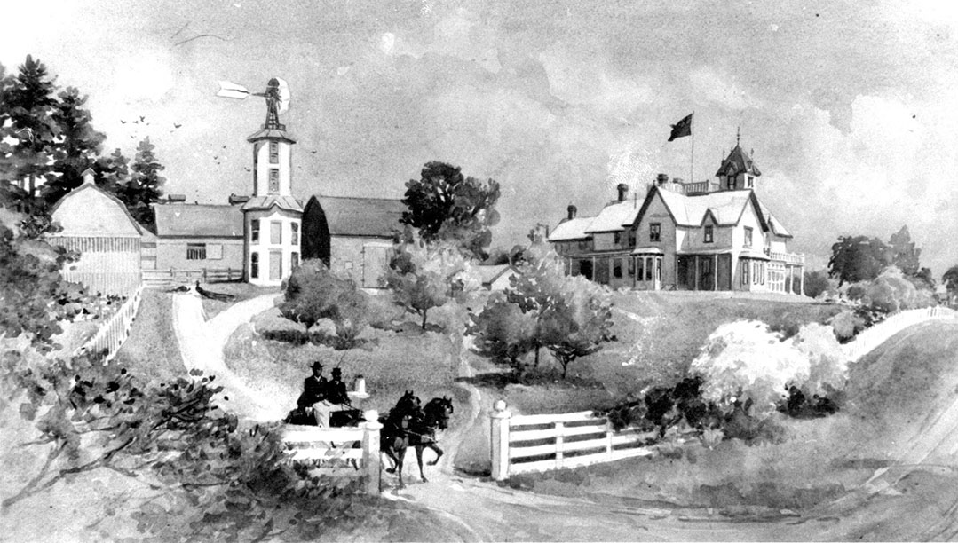 """An artist's rendition of """" The Pines """".  Courtesy of Mel Hill/Penhale Collection."""