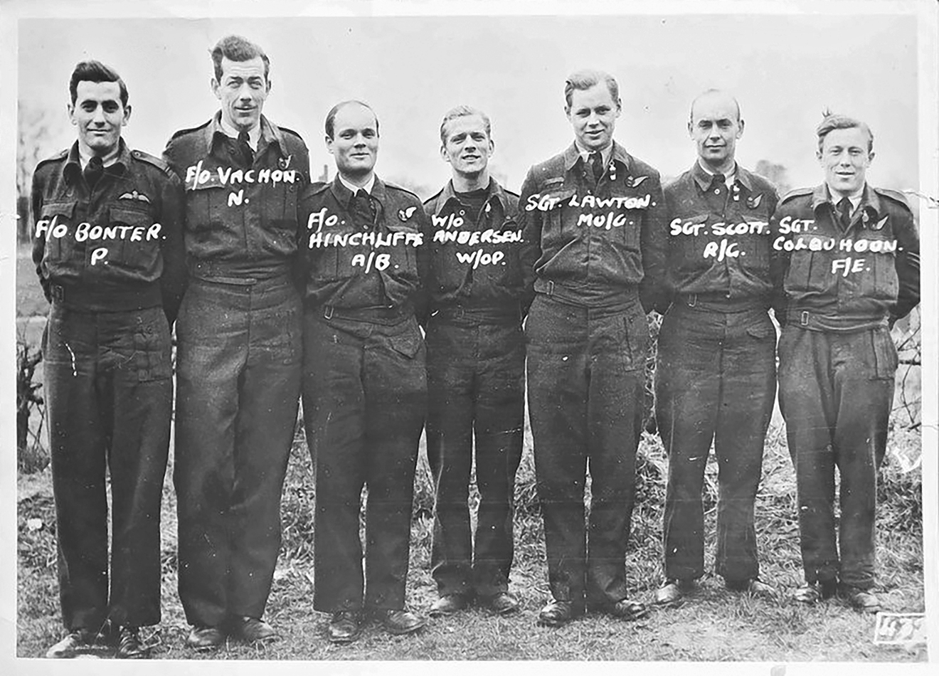 """The crew of the  Moonlight Mermaid , Stewart Millen Bonter, seen first from the left, """"chose flying not because I particularly liked it — I was never one for making models or idolizing flying aces — but because it was a bit dangerous … I would have to join a branch to prove my courage first of all to myself, secondly to others."""" Excerpt from Bonter's letter January 1945. Photo courtesy Marmora Historical Society, Bonter family archives. Letter excerpt courtesy of Anne Philpot."""