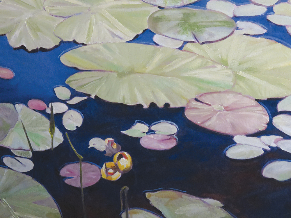 "Lilies on a pond: ""Painting is an unspoken and largely unrecognized dialogue, where paint speaks silently in masses and colours and the artist responds in moods."" – Gary Miller."