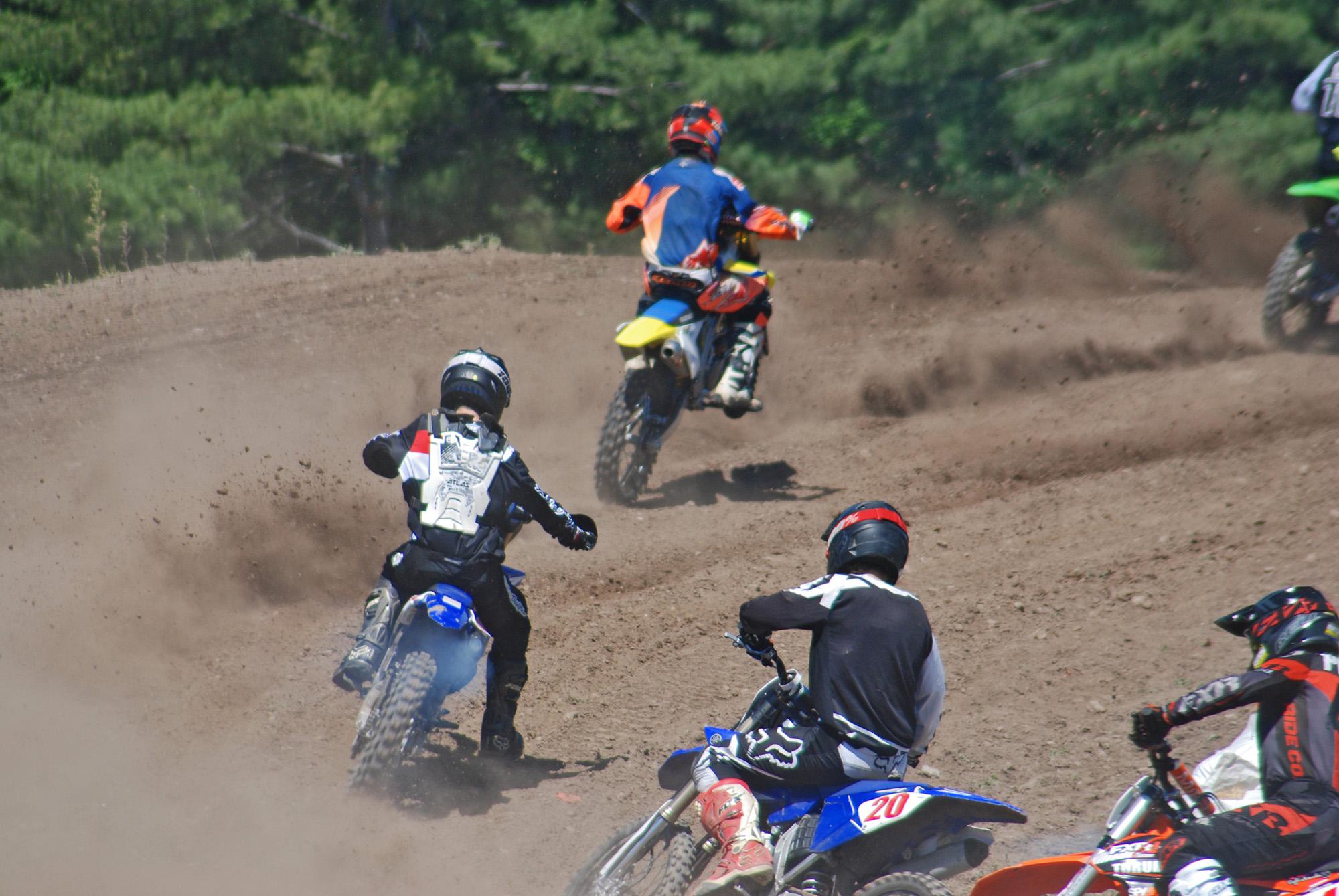 1ST PLACE  – MOTOCROSS  Photographer: Clara Hopkins  Photo Description: Motocross Fun-MMRS racing at the Madoc Fairgrounds.