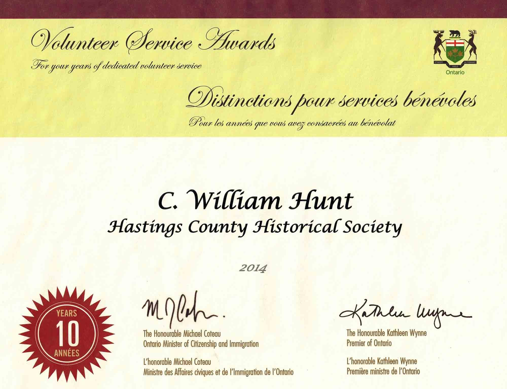 Historical Award - Hastings County.