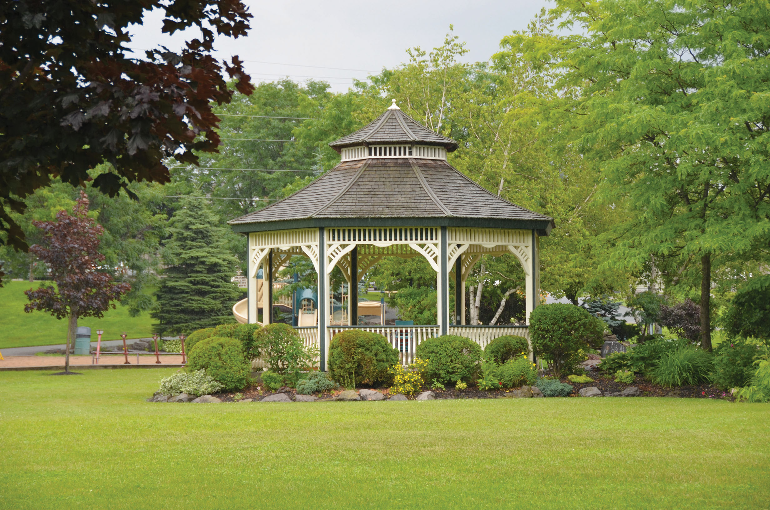 Enjoy a picnic in the cool shade provided by this Marmora's Memorial Park picnic shelter while you relax, watching the Crowe River flow by. Photo Courtesy Ministry of Marmora and Lake.