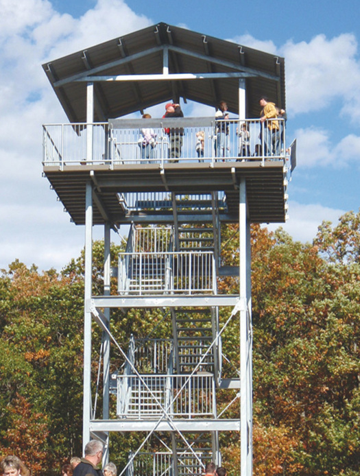 A great way to build an appetite is to hike up to the Sager's Tower, which when climbed offers a 360 degree view of the surrounding countryside. Photo Courtesy Lower Trent Conservation Authority.