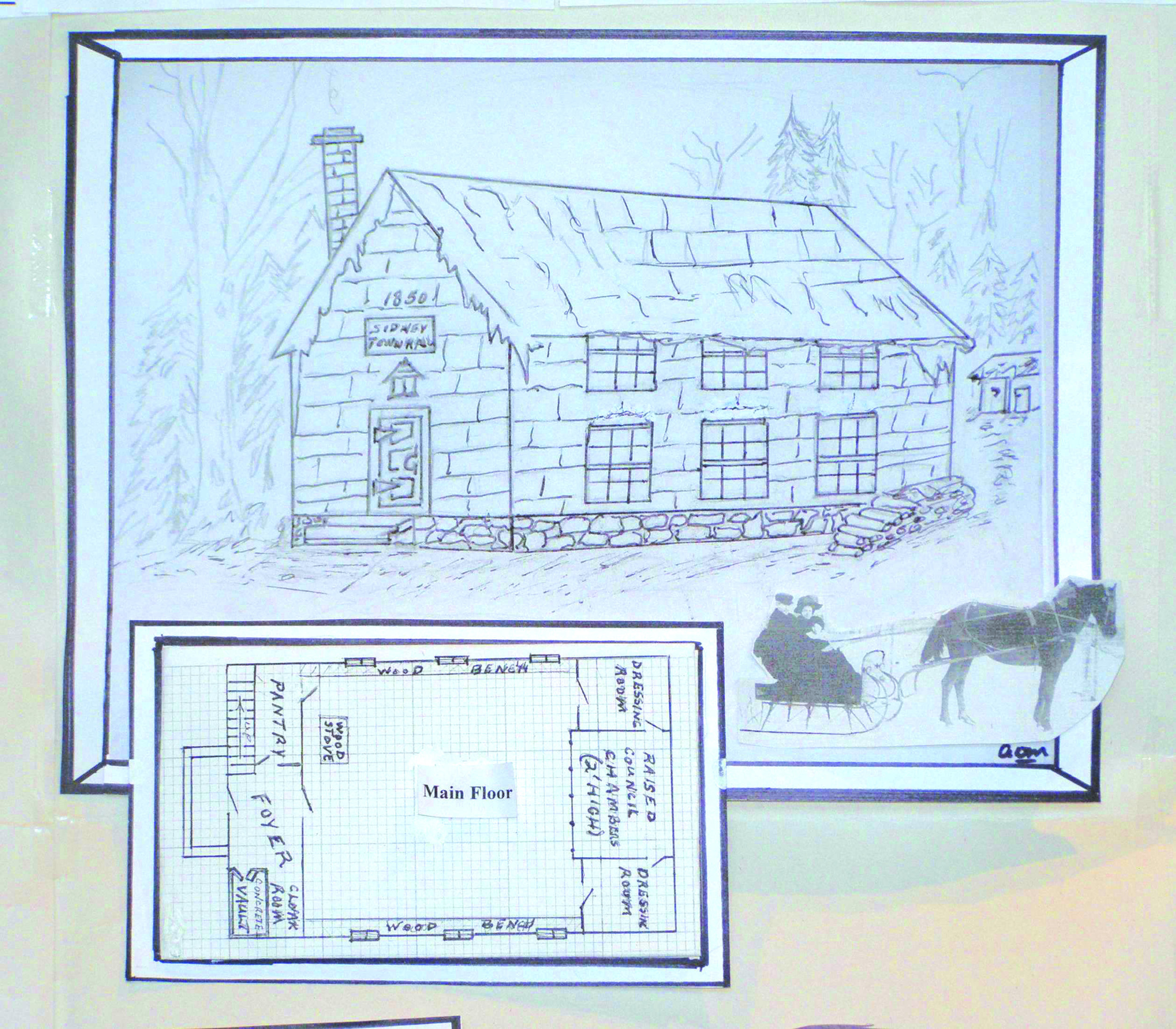 No photographs of the original Sidney Town Hall were found after professional photographer Clarence Herington died. This hand drawn facsimile by Alex McNaught is based on old Council minutes and local accounts. Illustration Courtesy Alex McNaught.