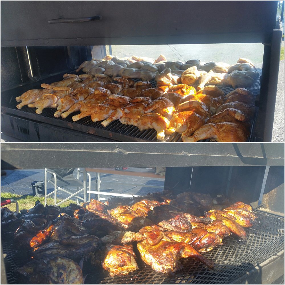The Blackburn barbecue can handle 30 or more half chickens, and Scott and Bobbie-Joe continue to experiment with marinades and sauces to enhance flavour. Photo courtesy Bobbie-Joe Blackburn.