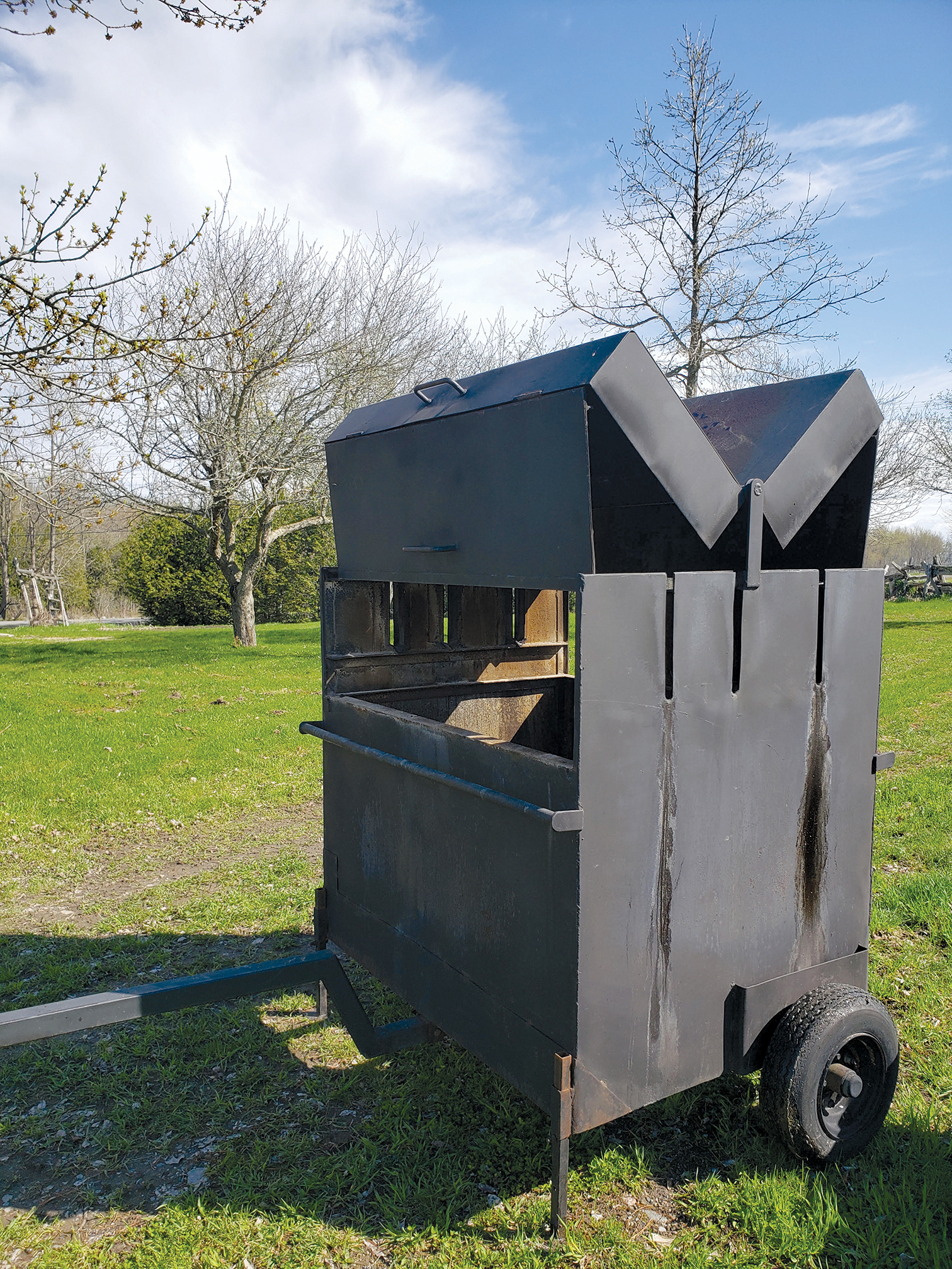 The Model T-inspired butterfly doors allow easy access to the cooking area on the grill. Photo courtesy Bobbie-Joe Blackburn.