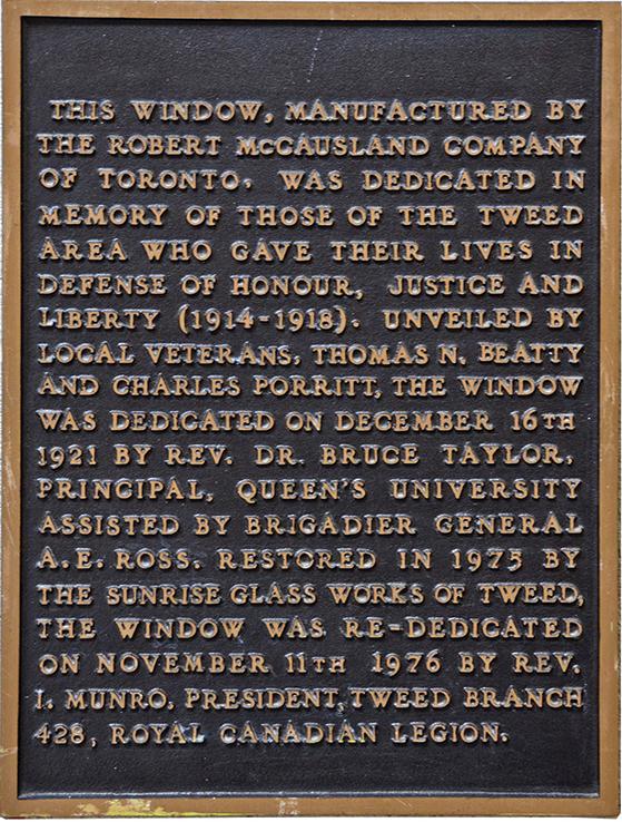 The memorial plaque honouring World War I soldiers. Photo credit: Jozef VanVeenen.