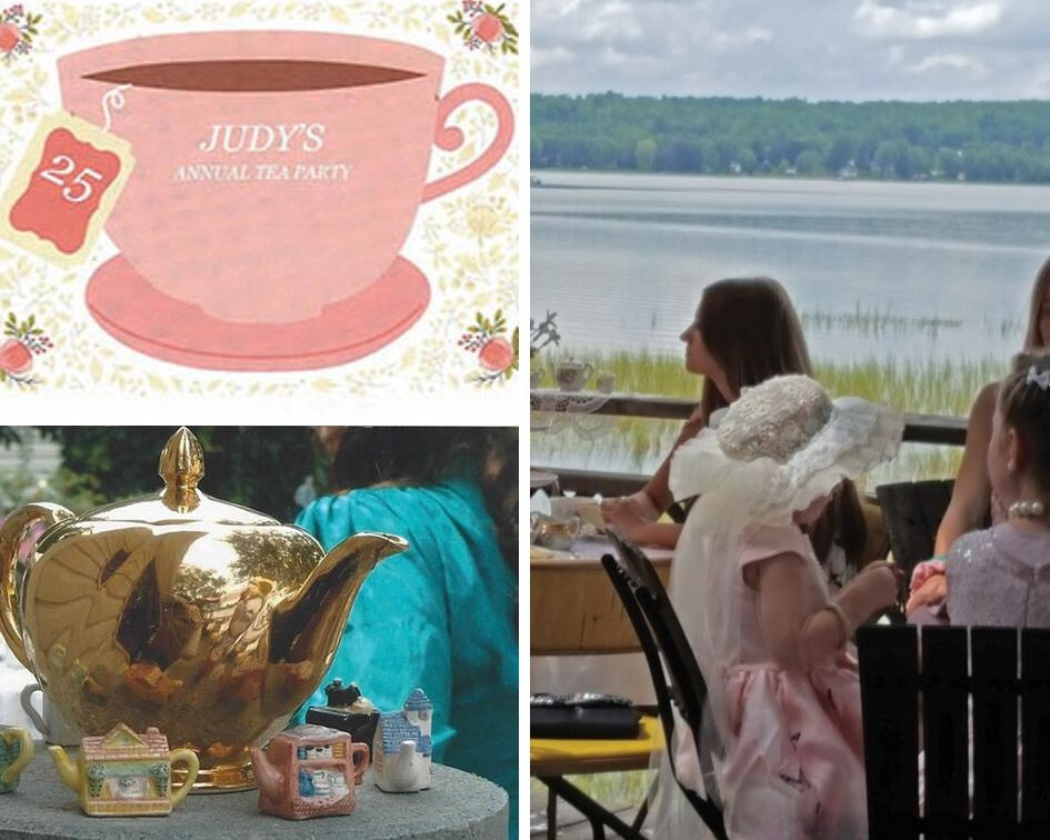 Left: Photo Courtesy of Judy's long time photographer Beth Hennessey (Windsor)  Right: Judy's 25th Annual Tea Party in full swing. Photo courtesy Lorraine Gibson-Alcock