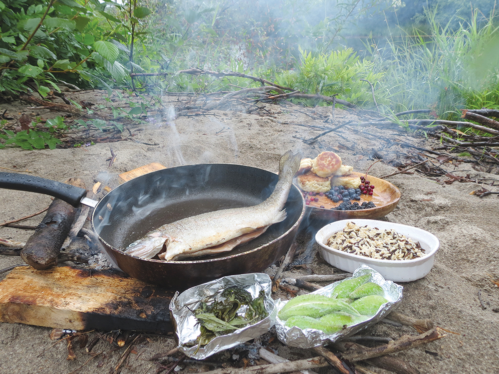 While many local fishing outfitters are selected by tourists for the shore lunch they boast, what better completes a rainbow trout fry, than locally sourced accents? It's one thing to put a can of beans in the fire but we tried Milkweed au gratin; roast Plantain; and a mix of locally sourced wild rice. For dessert forage black berries, chokecherries, and autumn blueberries.