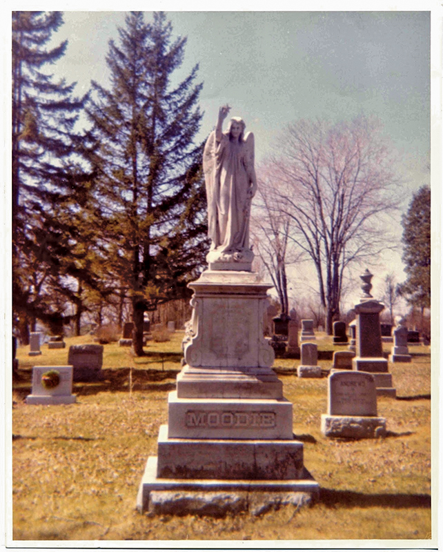SUSANNA MOODIE'S FINAL RESTING PLACE IN BELLEVILLE IS MARKED BY AN IMPOSING MARBLE ANGEL. PHOTO CREDIT: COMMUNITY ARCHIVES BELLEVILLE AND HASTINGS COUNTY.