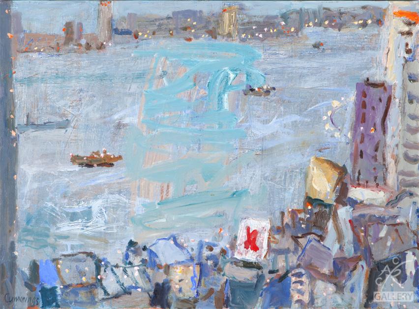 Hong Kong Harbor at Dusk, 2015   Elisabeth Cummings, oil on canvas, 76cm x 56cm