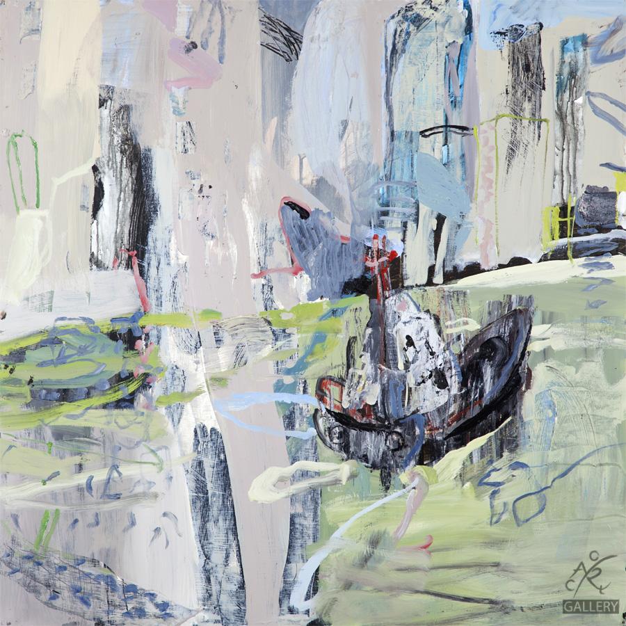 Tug on HK Harbour, 2015   Luke Sciberras, Oil on Board, 120cm x 120cm