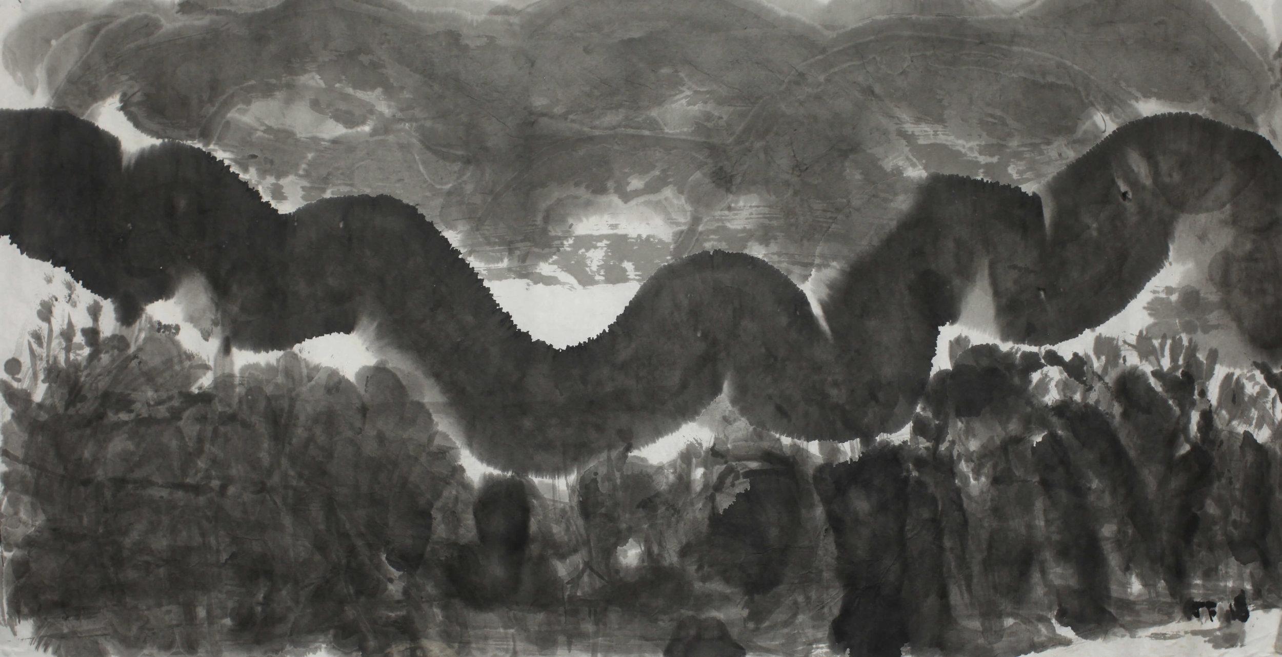 Joe Furlonger_Misty Morning Spring_2018_ink on paper_70x136.5cm_11,000AUD.JPG