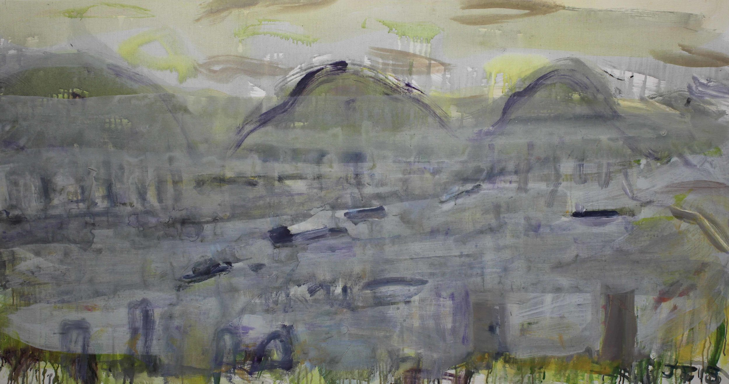 Joe Furlonger_Hong Kong through TY tower_2018_Acrylic on canvas_88x155cm_19,000AUD copy.jpg