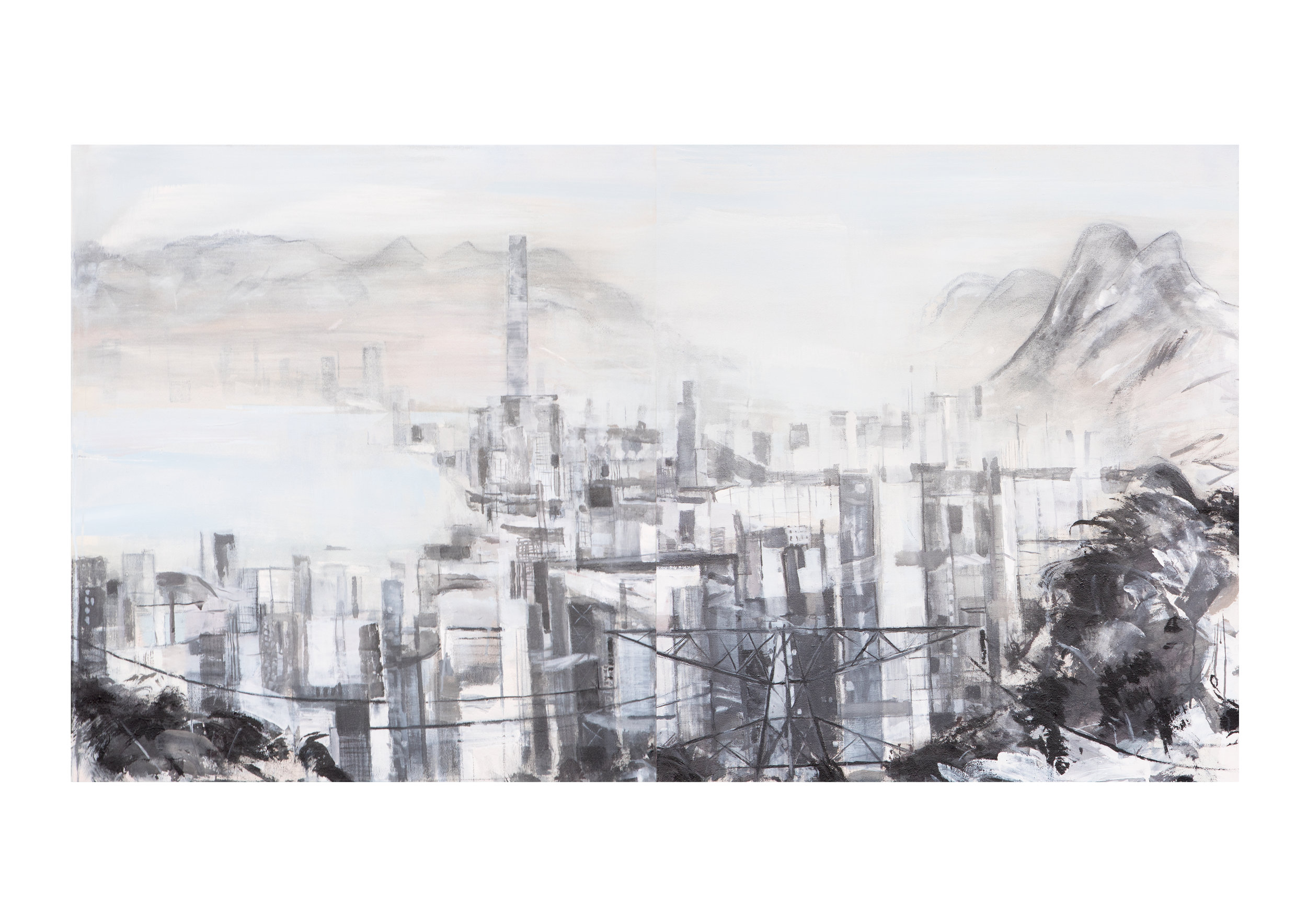 From Flying Goose Hill - High Polution Day 1 & 2, 2018, graphite & acrylic pigment on canvas, 2 panells, 120 x 220 cm .jpg