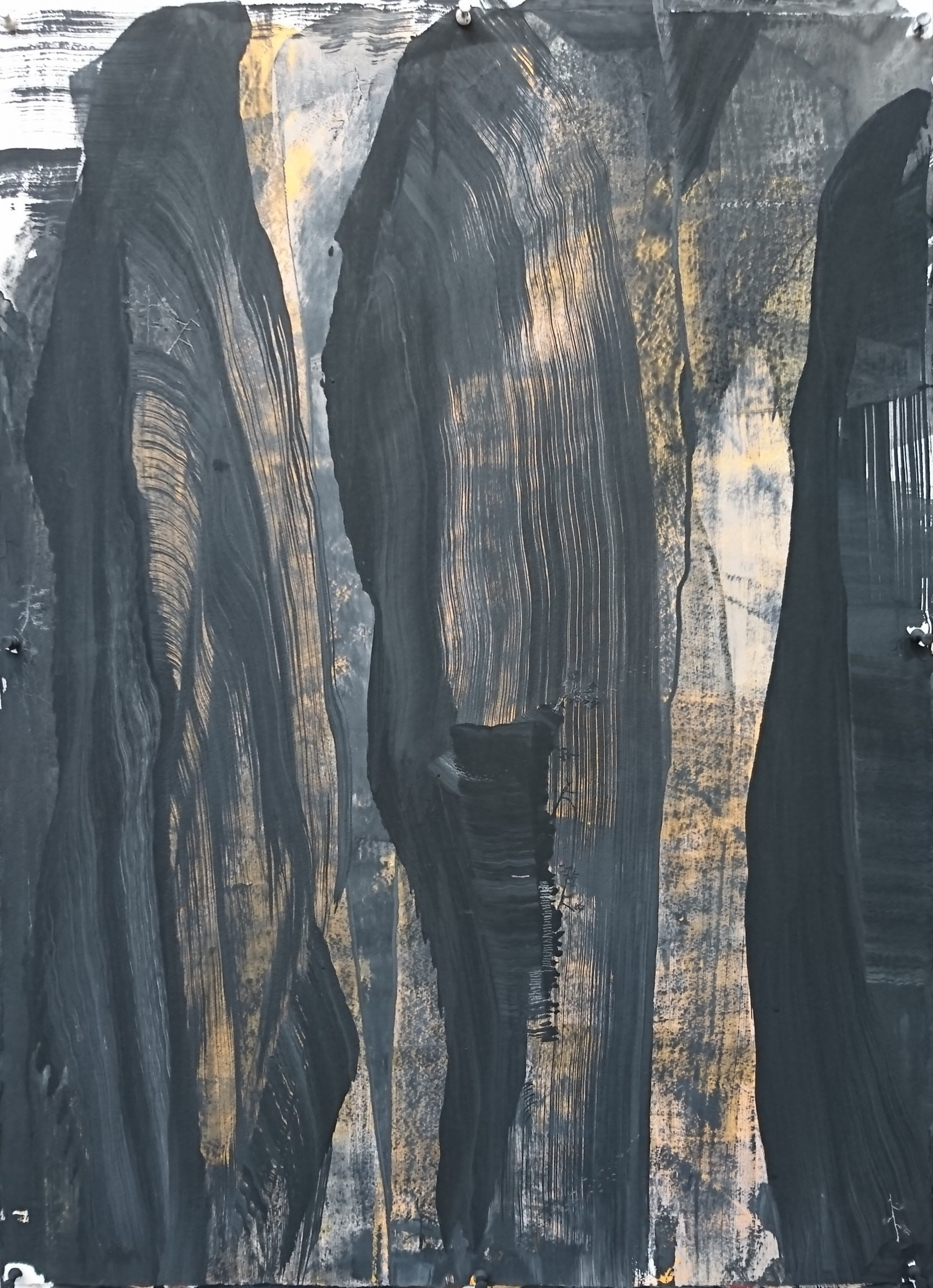 Angus Nivison_ Zahnjiajie Night - No Moon #1, Acrylic, Charcoal, Graphite and pigment on 640 gsm Arches, 78 x 58 cm.JPG