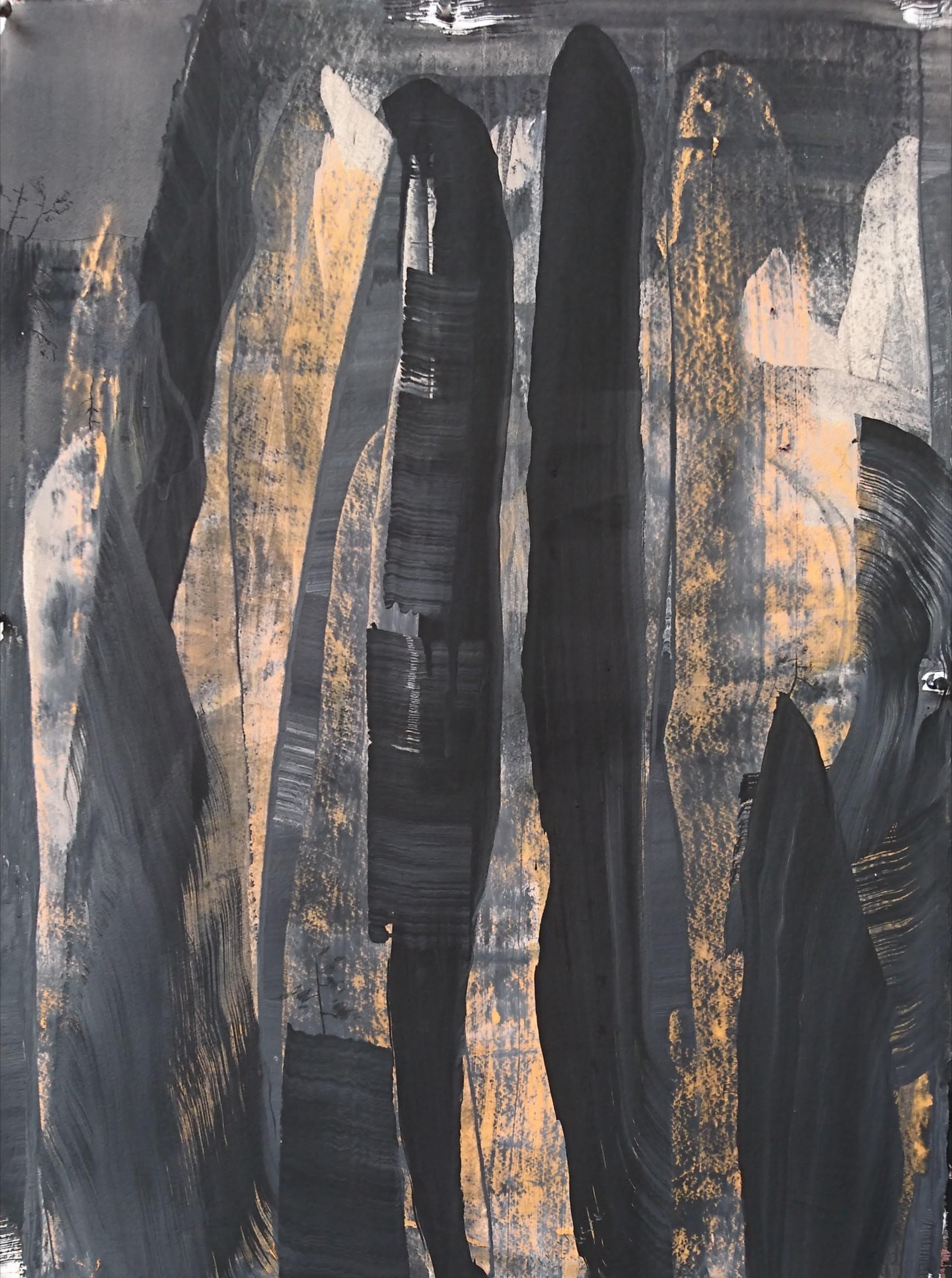 Zahnjiajie Night - No Moon #2, 2018, Acrylic pigment and graphite on 640 gsm, 78 x 58 cm.JPG