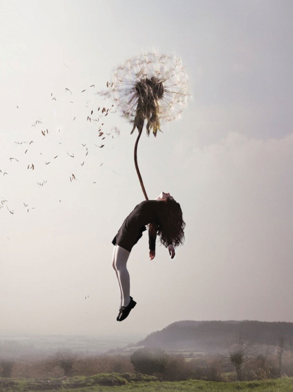 """Example of the story behind the work: In French artist Maia Flore's series """"Sleep Elevations,"""" Maia wishes to emphasizethe attraction a girl feels toward her new, boundless surrounding and the lightness of the reality she is entering into. Her contorted movements are meant to articulate a contrast between physical limitation and the limitlessness of imagination."""