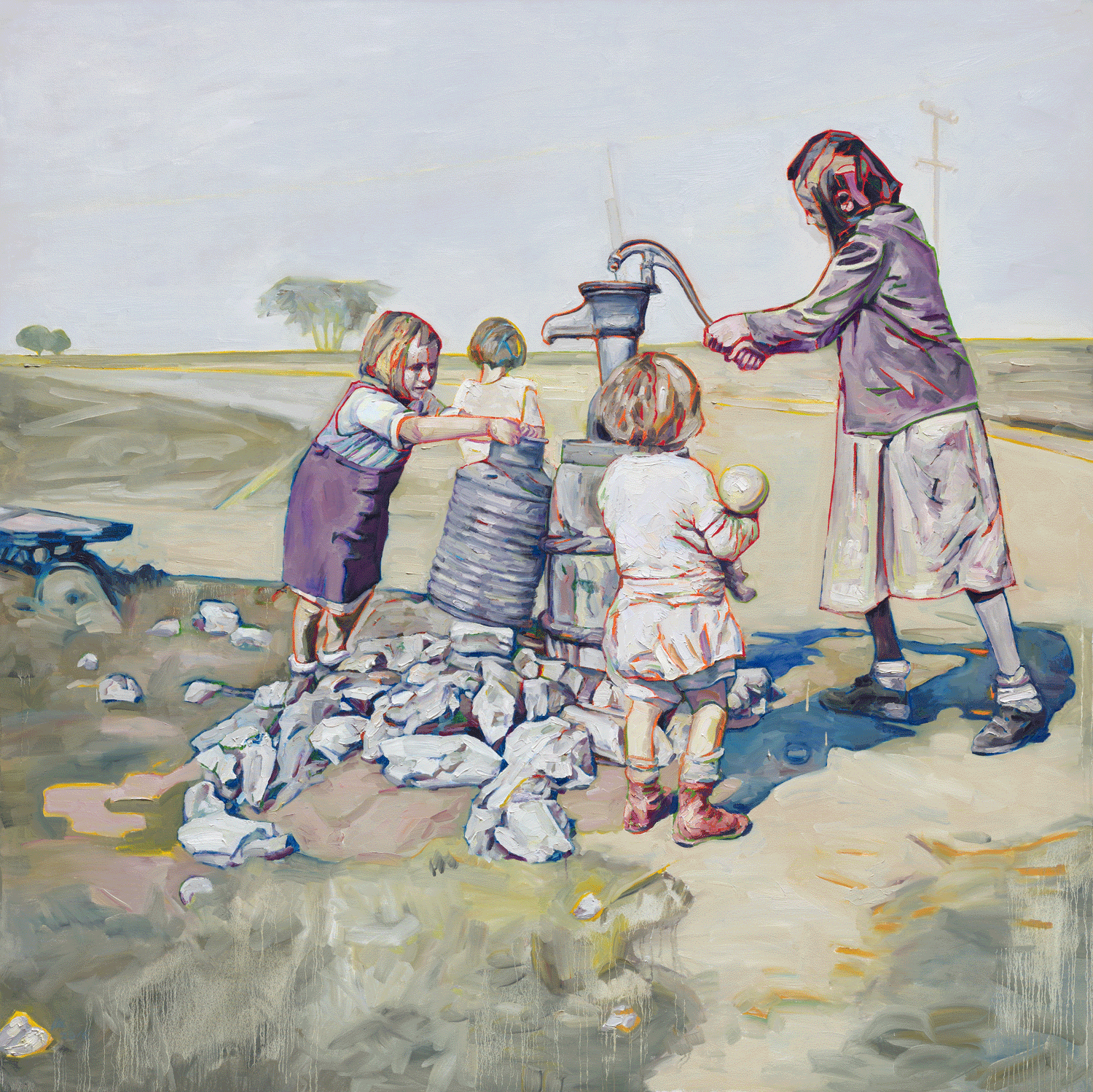 Fetching Water I, 2016, Oil on canvas,  90 x 80 inches