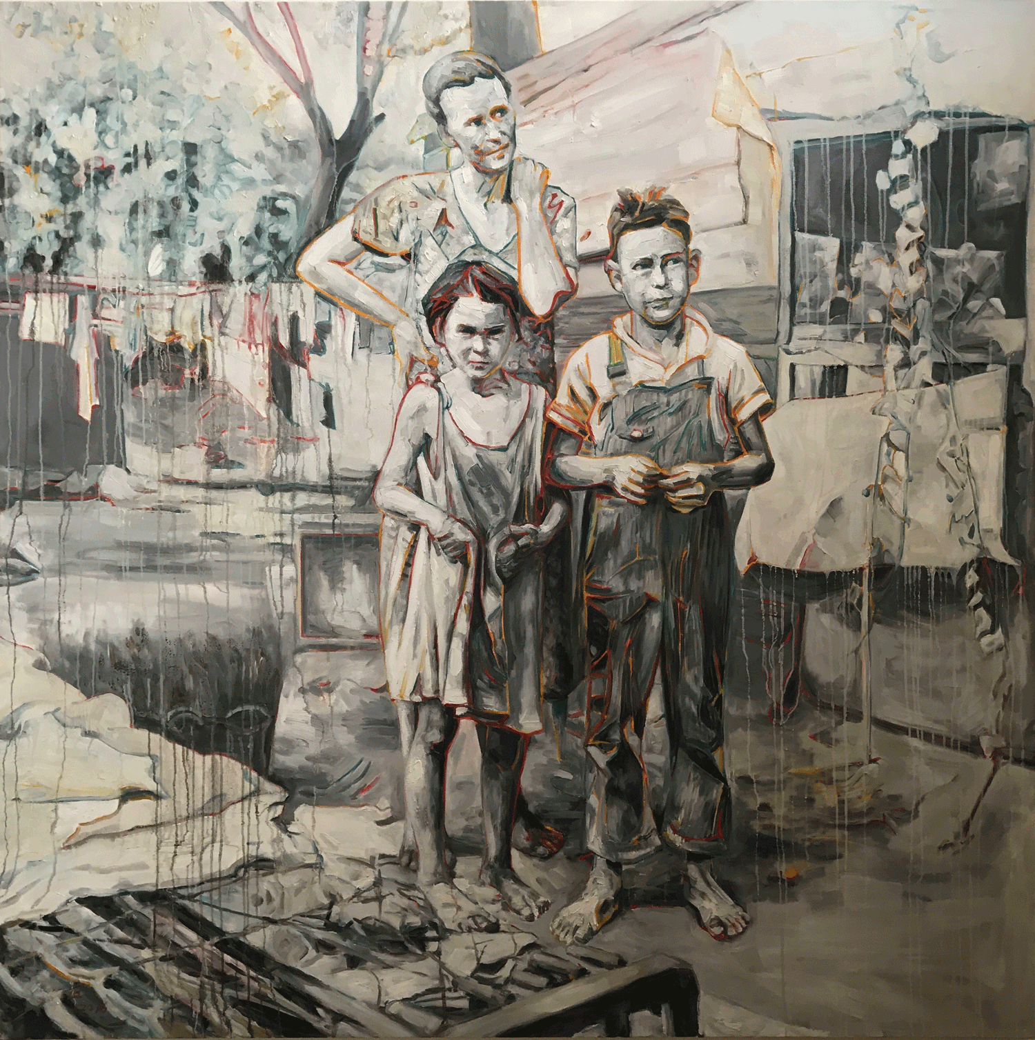 Behind the Ears, 2016, Oil on canvas, 80x80 Inches