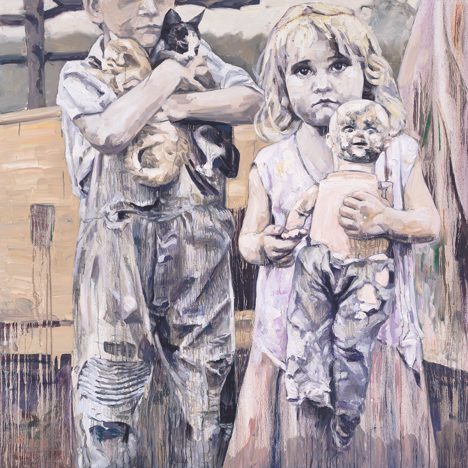 Camp Companions, 2015, Oil on canvas, 66x66 Inches