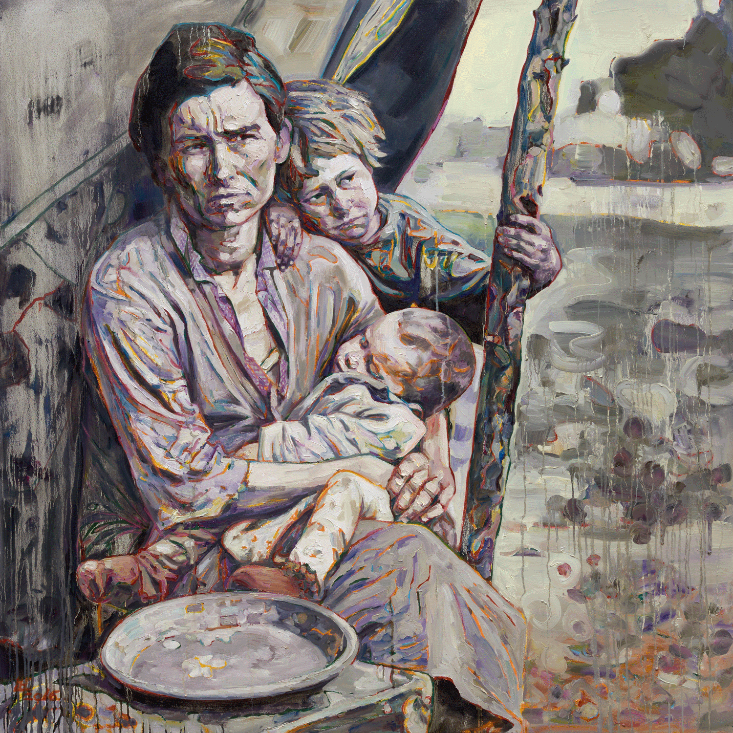 Migrant Mother II, 2016, Oil on canvas, 60 x 60  inches