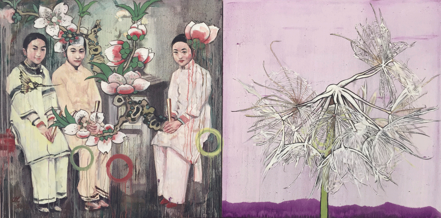 Dandelions 8, 2015, Oil on canvas, 48x96 Inches