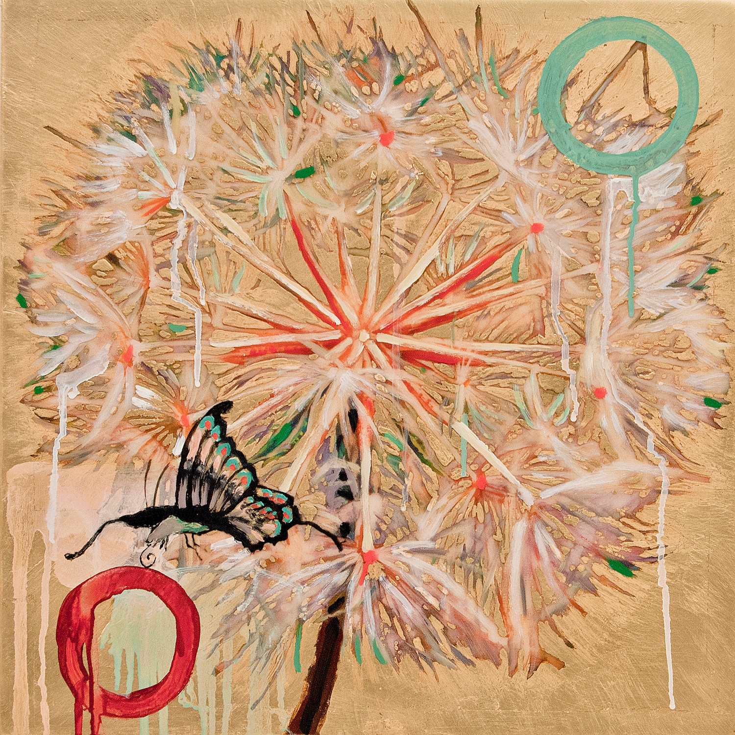 Dandelion with Butterfly, 2017, Mixed Media, 20.5 x 20.5 Inches