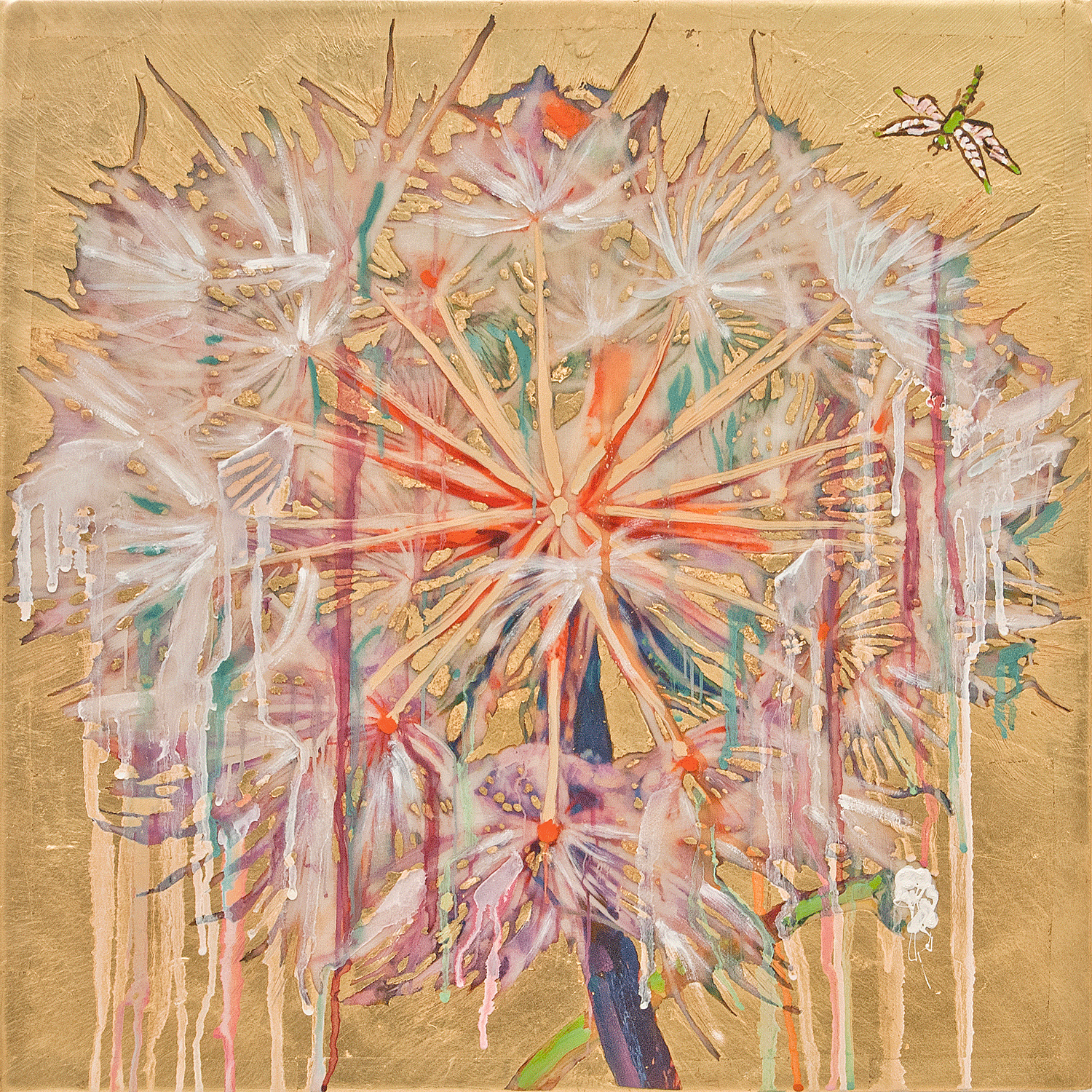 Dandelion with Dragonfly, 2017, Mixed Media, 20.5 x 20.5  Inches