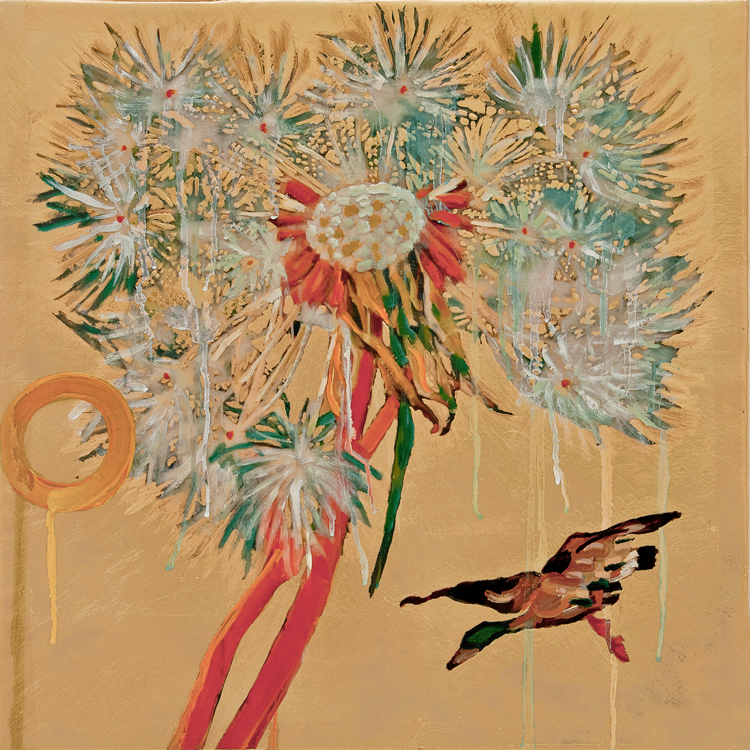 Dandelion with Mallard, 2017, Mixed Media, 20.5 x 20.5 Inches