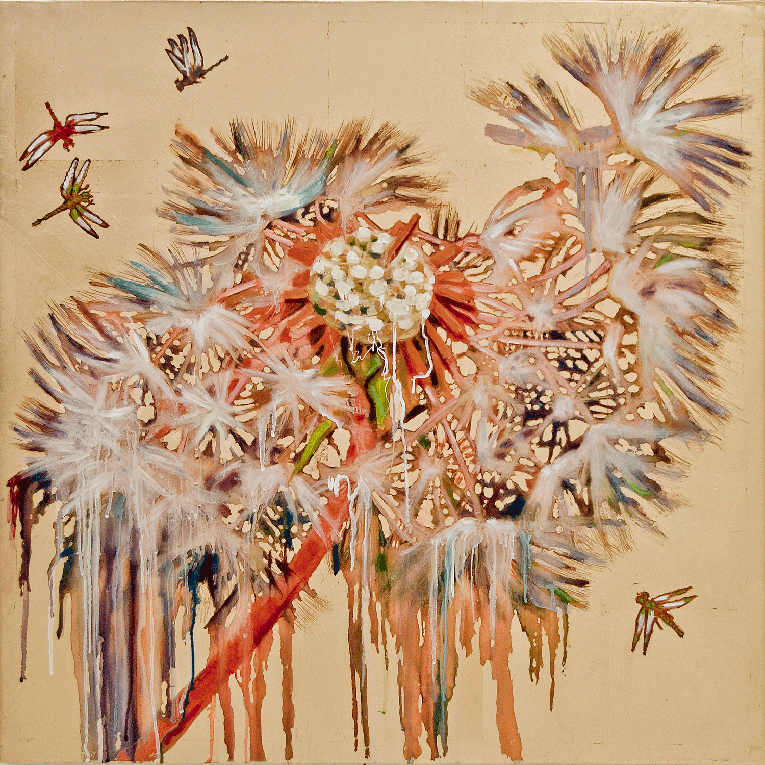 Dandelion and Dragonflies, 2017, Mixed Media, 36 x 36 Inches