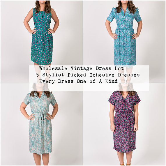"Choose from Bohemian, Florals, Vintage Prints, or Plus Size. ""We ship our one of a kind vintage designs to you in cohesive collections that will hang beautifully in your shop or boutique and give you pieces you can price wherever you want, because no one will have them but you! ( Not even us! )"""