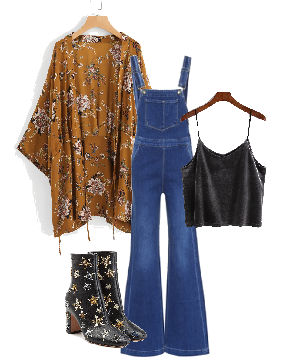 For a more casual look, we're in love with these flattering denim overalls paired with a boho kimono. The flared legs of the overalls are totally Stevie, and the embroidered star boots finish off the look in such a cool and effortless way.  This outfit would look great with a little satin tank, as shown above, but any sort of graphic tee, tank top, or blouse would look totally cool with this whole ensemble.