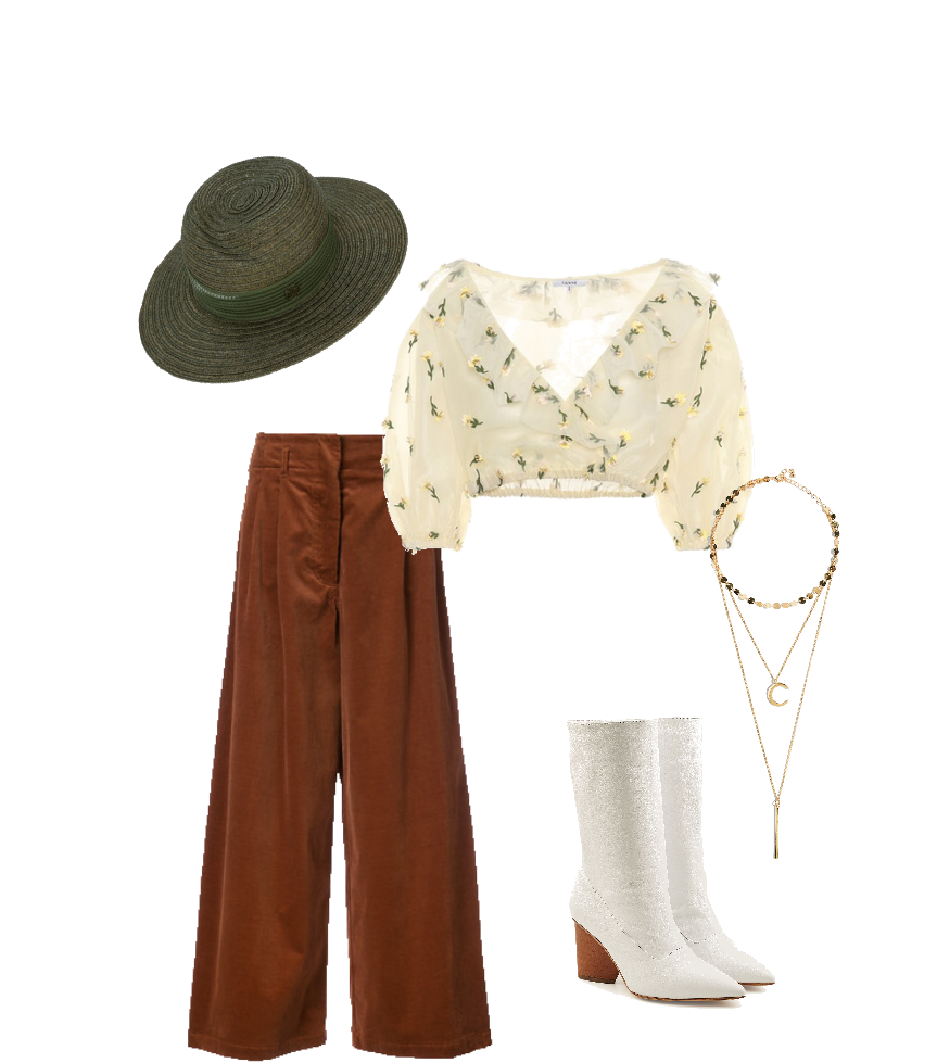 This boho look plays on Stevie's softer, more ethereal looks. A pair of earth-toned culottes paired with an embroidered, lightweight blouse are pretty and feminine, and a pair of white calf-high boots make the look a little sharper. A hat and beaded moon necklace are two accessories that are so Stevie.   This is a great look for just about any day that can be worn casually or for something slightly more formal.
