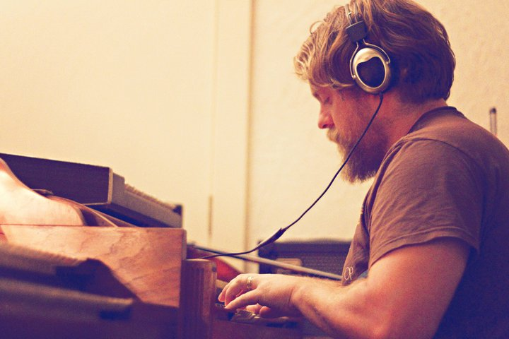 Cowboy Mustache owner, Dave Matthies, lays down some organ for a film score. photo by  Unscripted Photos