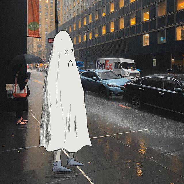 Even when the forecast says it will be raining the whole day you still hope for luck. . . . . . #newyork #sadghost #adhdghost #illustration #rainyday #sad #art #funart #design #drawing