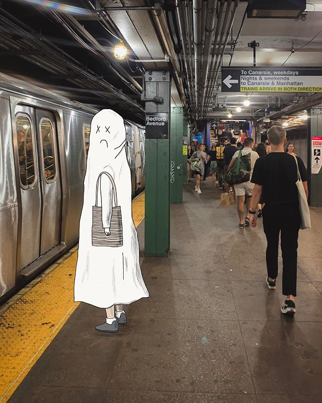 NYC subway is always a lottery: is another one train comes in few minutes or is it time to open that book on my phone . . . #newyork #sadghost #adhd #adhdghost #train #nycsubway #manhattan #brooklyn #illustration #drawing #art #funart #design