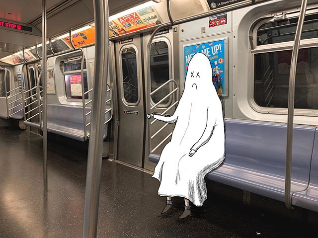 The only advantage of staying late at work is that my commute home doesn't involve kicks from people on a crowded subway. Yes, I take more space than you, but so what? . . . . . . #Newyork #subway #manhattan #work #illustration #art #drawing #funart #ghost #sadghost #adhdghost #inspiration