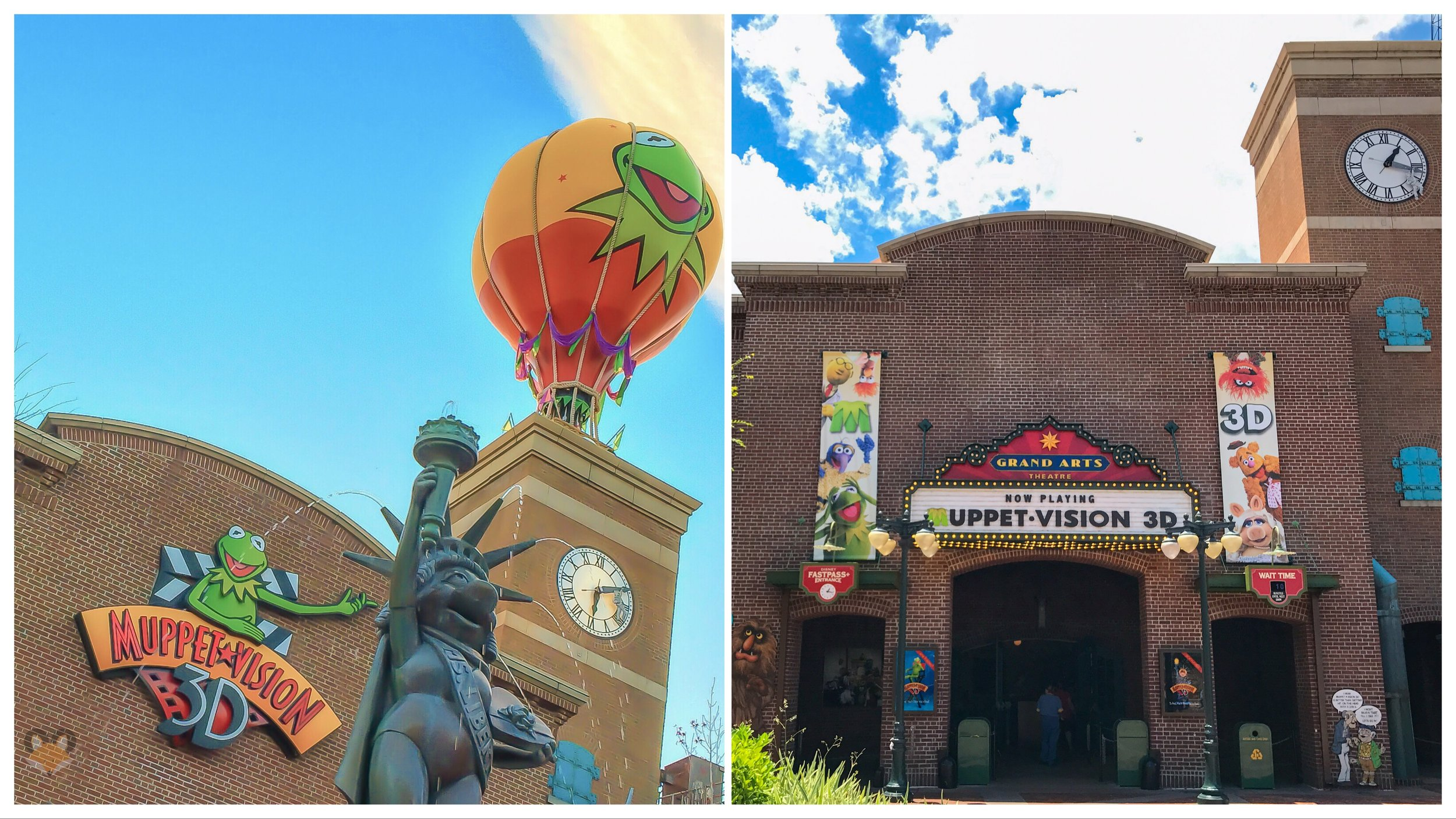 On the left you have the old Muppet Vision 3D marquee with that iconic Kermit hot air balloon perched high above the building. On the right you'll see the new Grand Arts Theater signage. The balloon never made it back into the themeing.