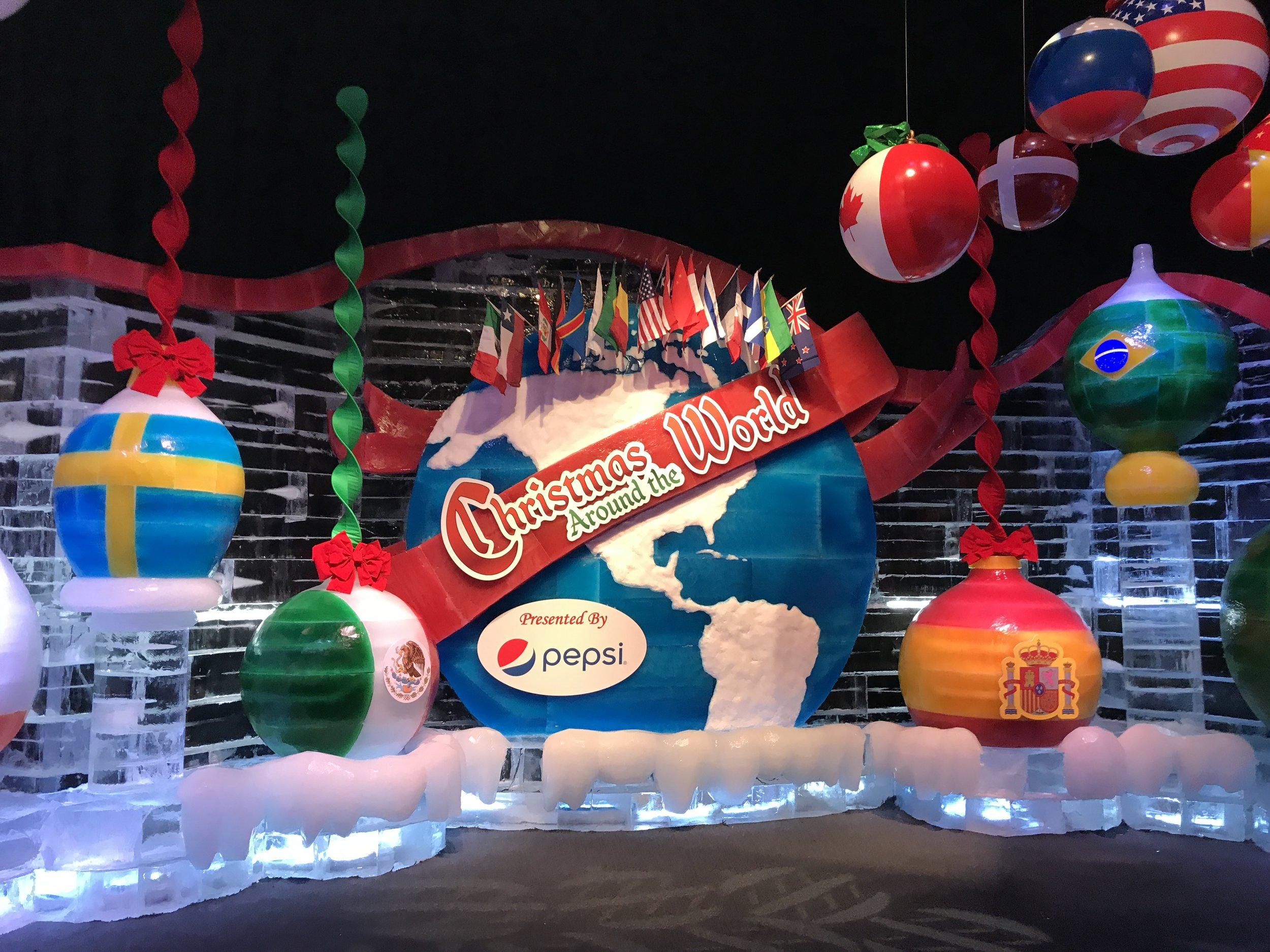 The beautiful Christmas Around the World entrance presented by Pepsi