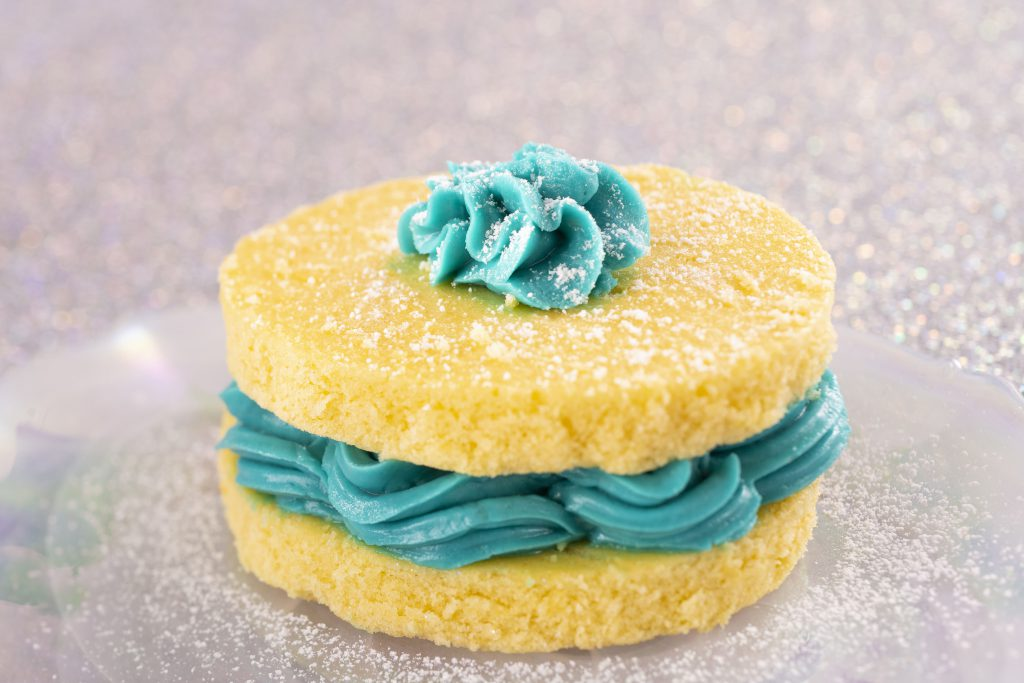 NEW Arendelle Aqua sponge cake available at Yorkshire County Fish Shop in the UK Pavilion