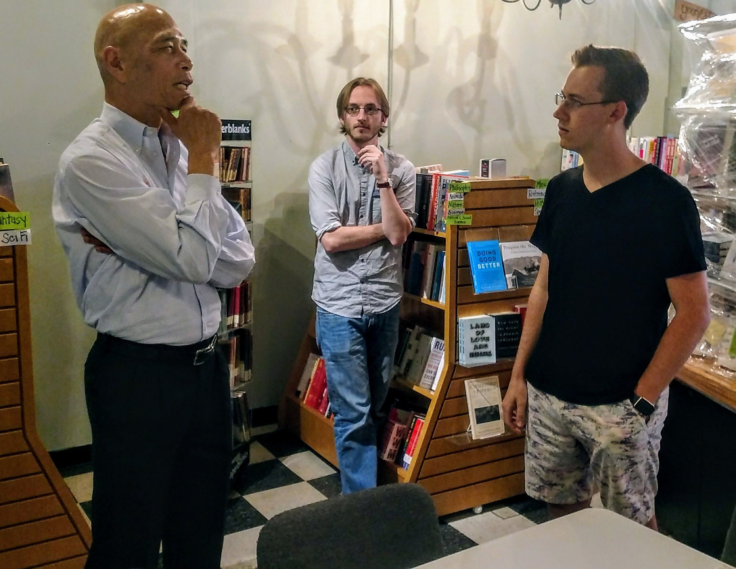 Kelvin conversing with college students in Wake Forest, North Carolina.