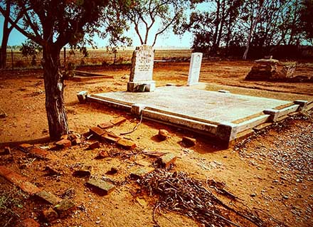 Long weathered gravestones at the Buchfelde Pioneer Cemetery