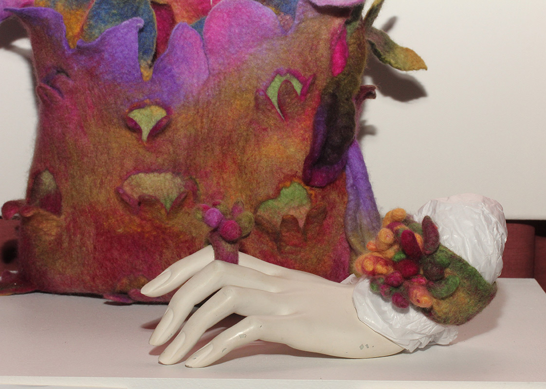 Coral Felt Bracelet with matching ring & Anemone Feltwear bag by Jelina Haines