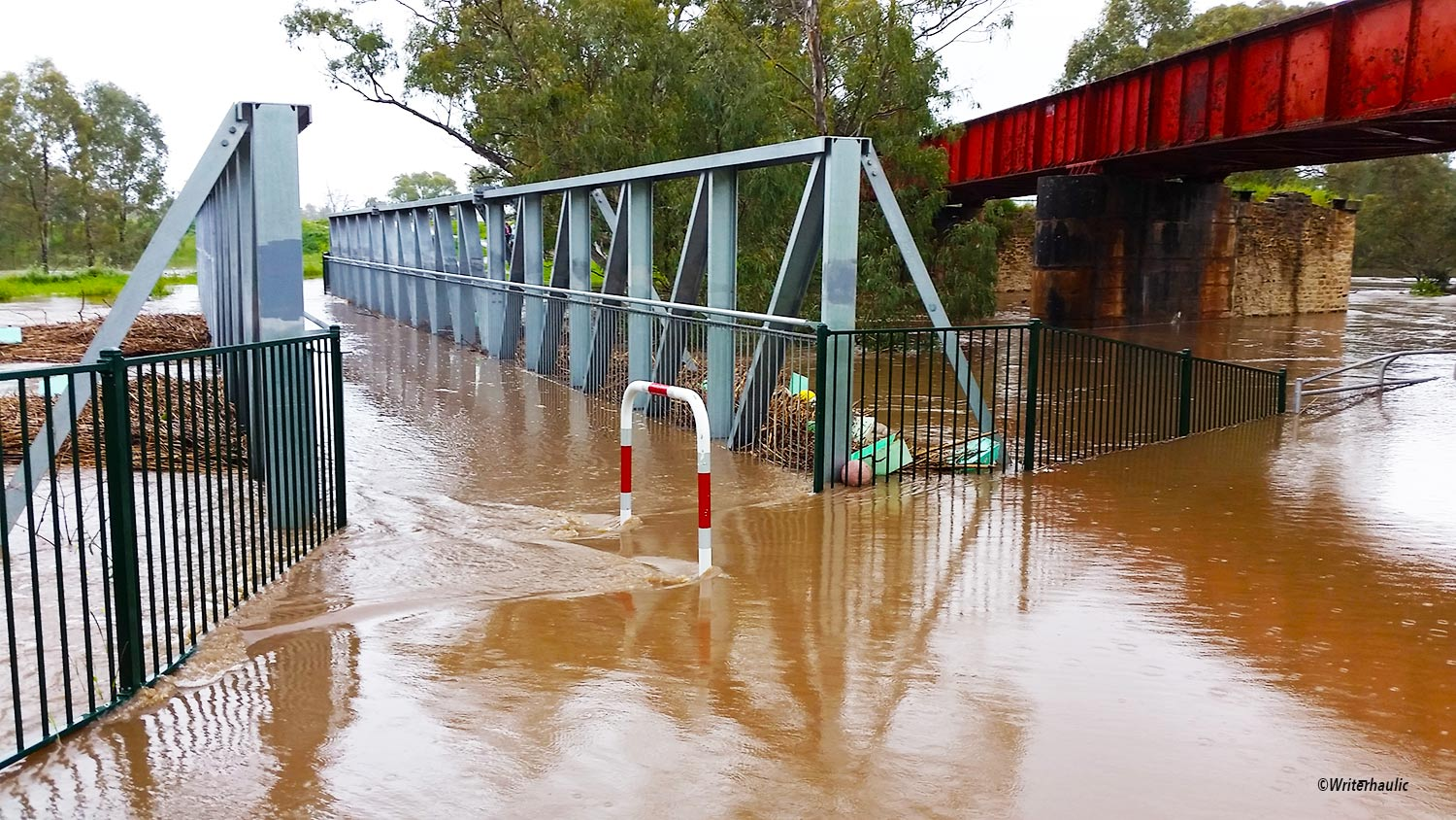 The Gawler West footbridge at the end of Gosford Street was impassable at 9am this morning  Photo: Writerhaulic