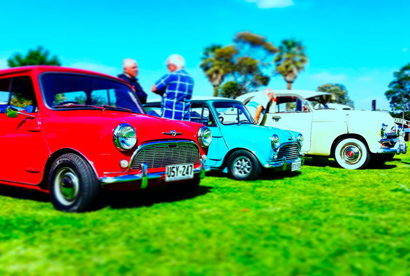 Check out all the classic cars on display, buy a raffle ticket and you could win a Mini!