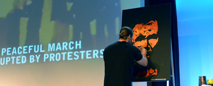 Erik Wahl, speed painting at WorkForce's annual conference, VISION 2017.