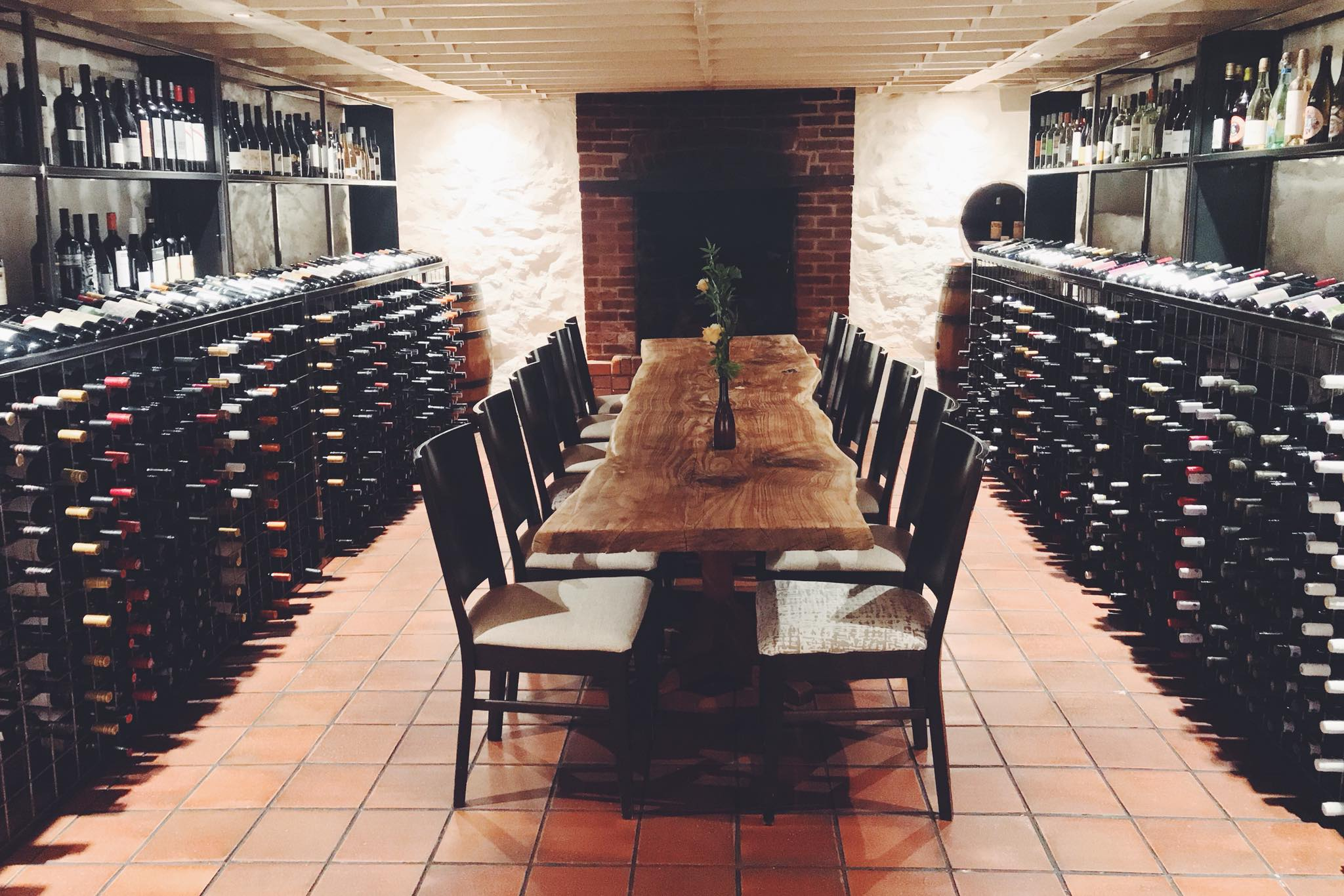 Restored Historic Cellar, choose your wine by the bottle or dine among the wine; groups of 10-15.